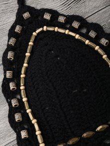 f7227eadf3ca5 16% OFF] 2019 Beaded Crochet Bathing Suit In BLACK | ZAFUL