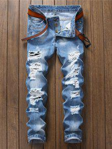 جينز ملائم مهترئ مستقيم الساق - غائم 38