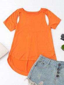 Cut Out High Low T-Shirt - Orange L