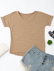 Oversized Striped High Low T-Shirt - Dark Khaki L