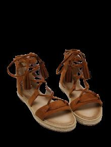 Tassels Lace Up Espadrilles Sandals - Brown 37