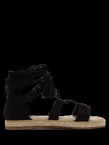 الصنادل شرابات ربط الحذاء حتى قماشية - أسود 38