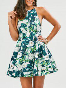 Tropical Print Backless Fit And Flare Dress - Green Xl