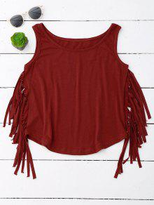 Side Fringed Tank Top - Wine Red Xl