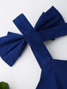Azul Backless Xl Skirted Bowknot Denim Top qIBPzxg5w