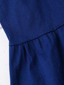 Top Skirted Backless Denim Azul Bowknot Xl UHTq8