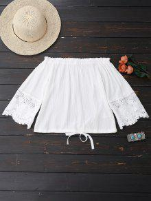 Off Shoulder Drawstring Hem Blouse - White M