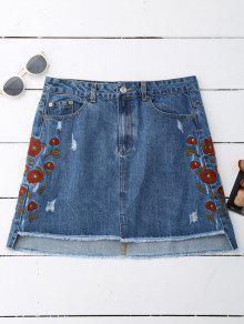 Floral Embroidered Frayed Hem Denim Skirt - Denim Blue L