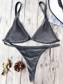 Traje De Bikini Con Thong De Tirant Fino De Terciopelo Con Cordón - Gris S