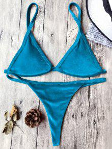Cami Velvet String Thong Bikini Set - Peacock Blue S