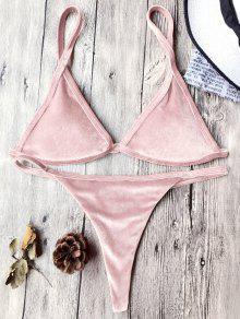 Traje De Bikini Con Thong De Tirant Fino De Terciopelo Con Cordón - Rosa L
