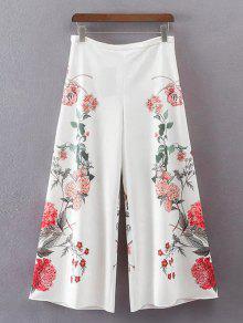 Calças De Perna Largas Com Cintura Alta Floral - Branco M