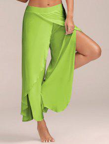 Pantalon Large Fluide Superposé Fendu Jusqu'à La Cuisse  - Vert Clair L