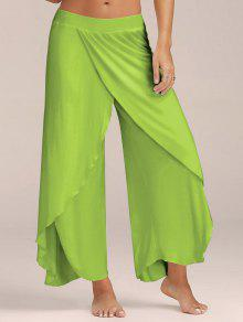 5cb21330890f51 28% OFF] 2019 High Slit Flowy Layered Palazzo Pants In LIGHT GREEN ...