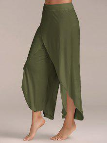 367515a17ba8bb 37% OFF] 2019 High Slit Flowy Layered Palazzo Pants In ARMY GREEN ...