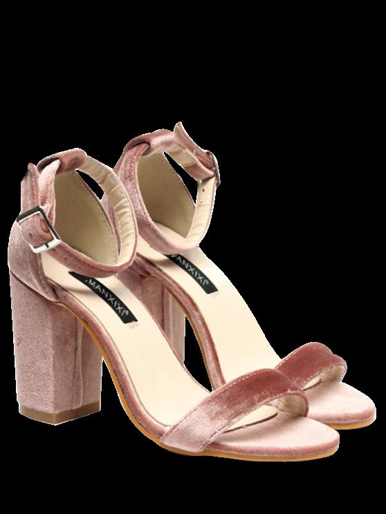 affordable Block Heel Velvet Ankle Strap Sandals - PINK 39