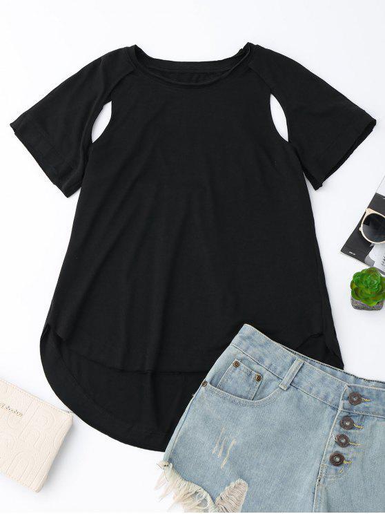 Camiseta alta baja del recorte - Negro M