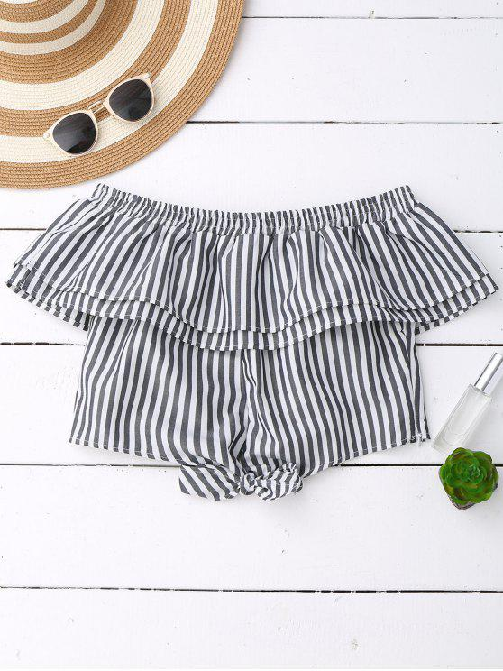 new Off Shoulder Ruffle Knot Hem Crop Top - BLACK STRIPE L