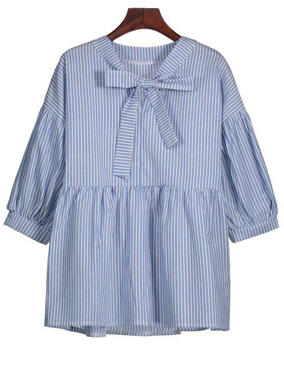 shop Striped Bow Tie Blouse - STRIPE L