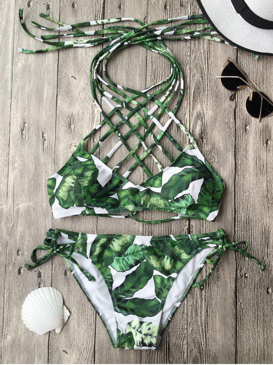 latest Convertible Tropical Print Strappy Bathing Suit - GREEN S