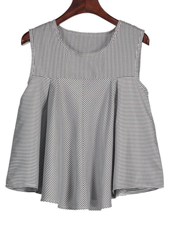 shops Stripes Ruffles Tank Top - BLACK XL