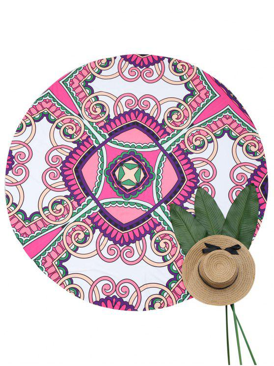 lady Round Portable Beach Throw - MULTICOLOR ONE SIZE