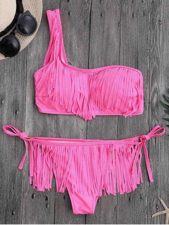 trendy Fringe One Shoulder String Bathing Suit - PINK L