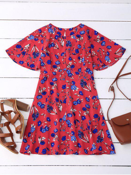 فستان طباعة الأزهار انقسام الظهر - أحمر S
