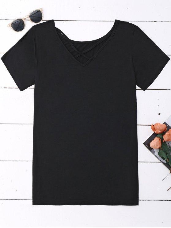 Parte superior cruzada de Criss del algodón - Negro XL