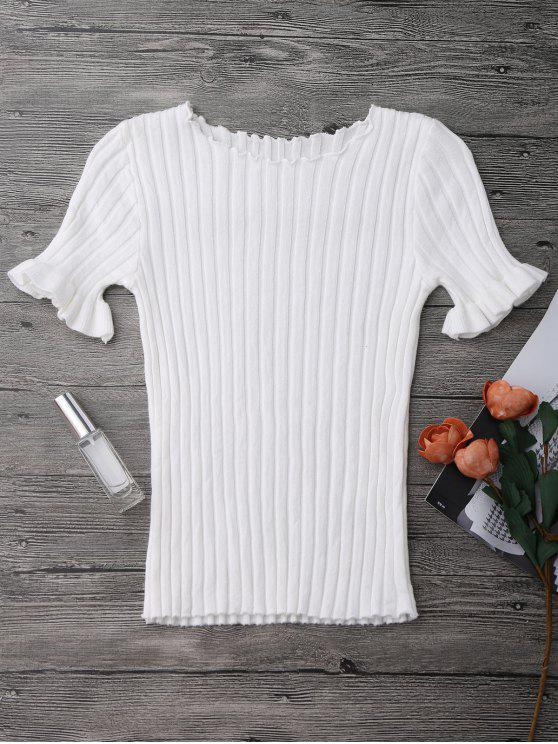 women Knitted Ribbed Top - WHITE ONE SIZE