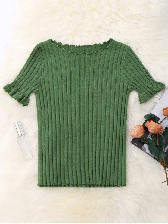 women's Knitted Ribbed Top - GREEN ONE SIZE