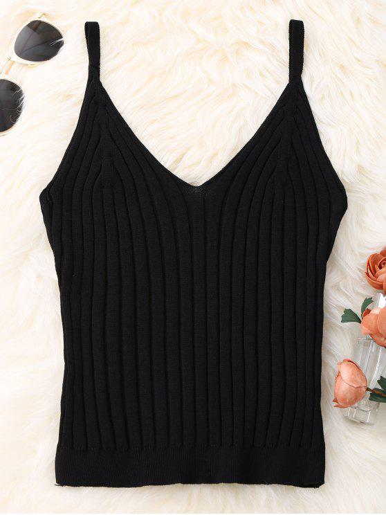 fancy Knitted Ribbed Tank Top - BLACK ONE SIZE