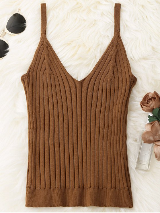 sale Knitted Ribbed Tank Top - COFFEE ONE SIZE