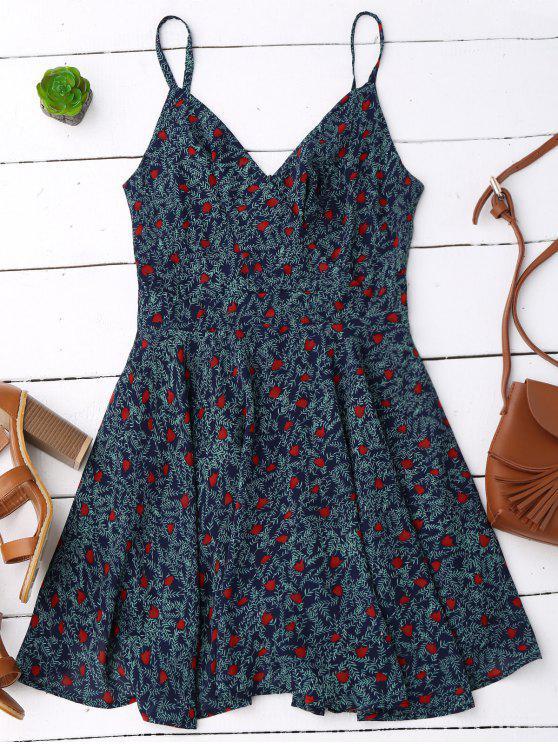 online Slip Leaf Print Surplice Skater Dress - COLORMIX M