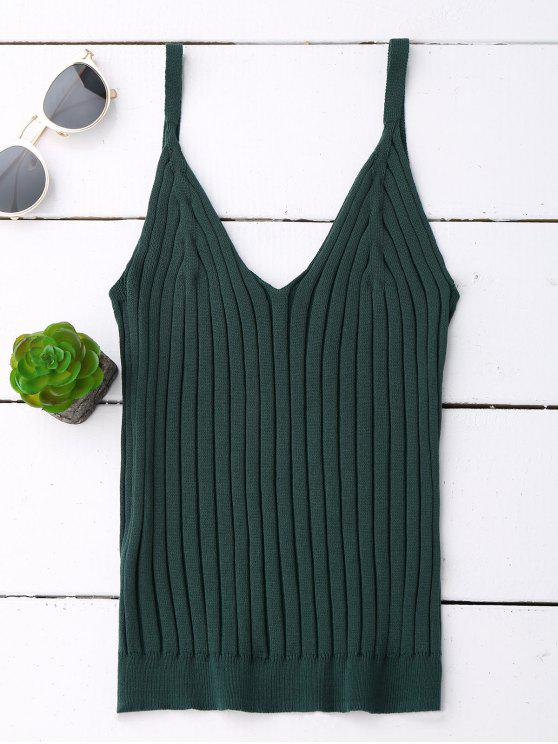 new V Neck Ribbed Knited Tank Top - BLACKISH GREEN ONE SIZE