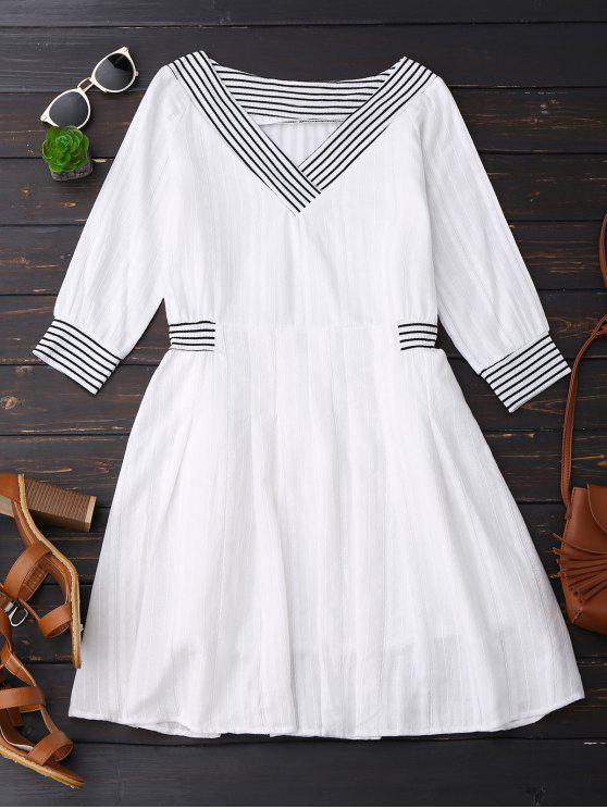 V cuello vestido de lino con rayas - Blanco L
