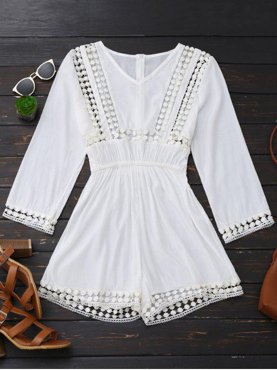 shop Long Sleeve Hollow Out V Neck Romper - WHITE S
