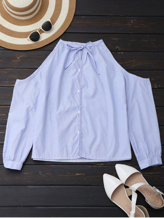 lady Cold Shoulder Button Up Shirt With Stripe - LIGHT BLUE XL