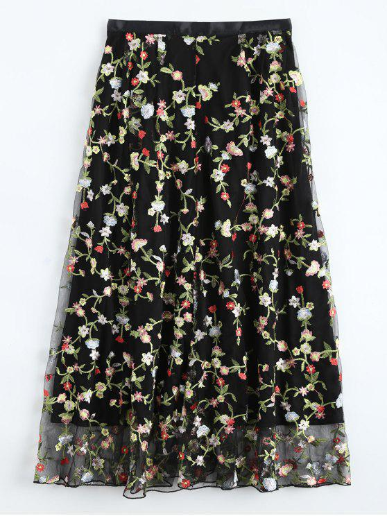 shop Floral Embroidered Tulle Skirt - BLACK S