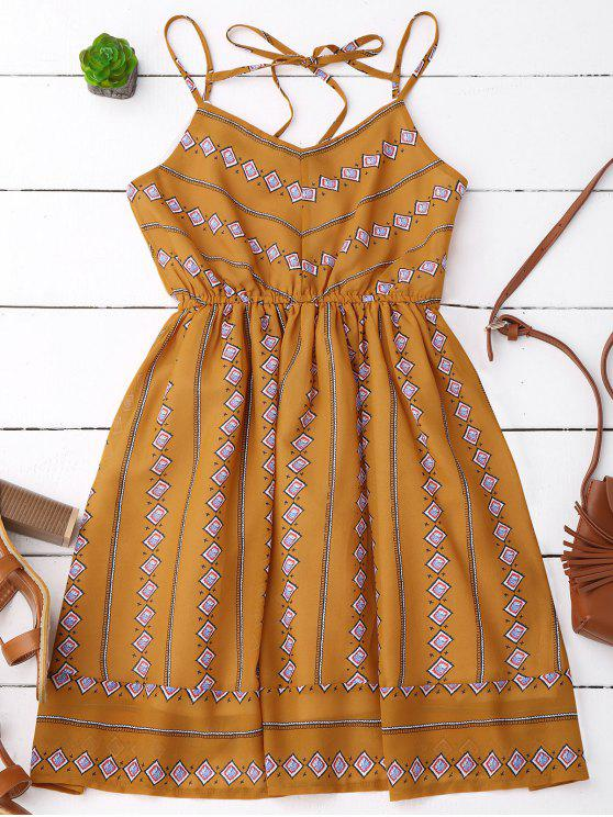 lady Argyle Print Slip Fit and Flare Dress - EARTHY L