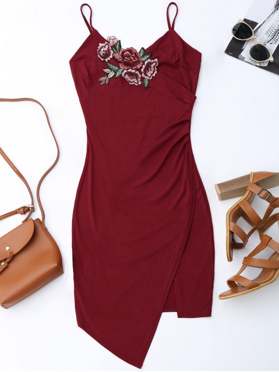 fashion Floral Patched Asymmetrical Surplice Dress - WINE RED S