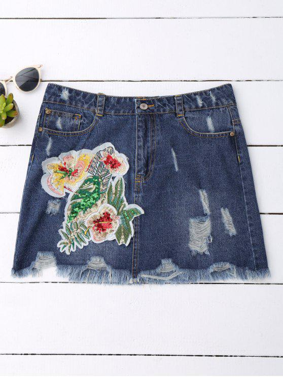 trendy Sequins Floral Frayed Denim Skirt - DENIM BLUE M