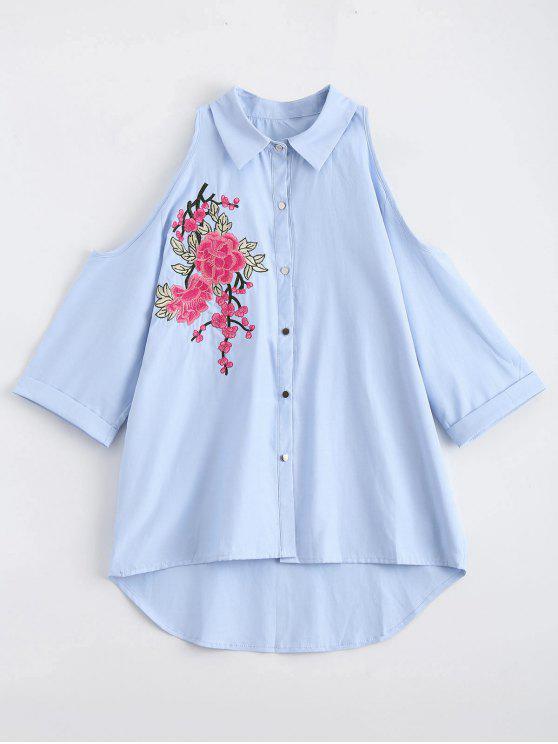 trendy Cold Shoulder Floral Embroidered Shirt - BLUE M