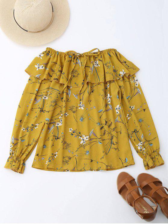 best Off Shoulder Ruffle Drawstring Floral Blouse - YELLOW S
