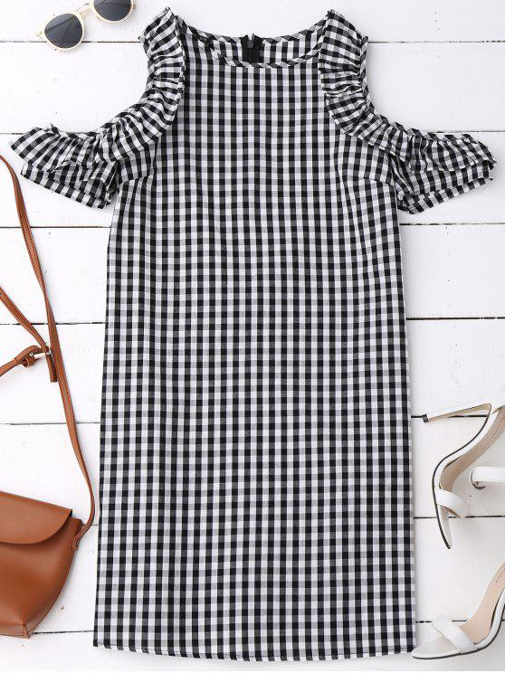 women's Cold Shoulder Ruffle Plaid Dress - CHECKED M