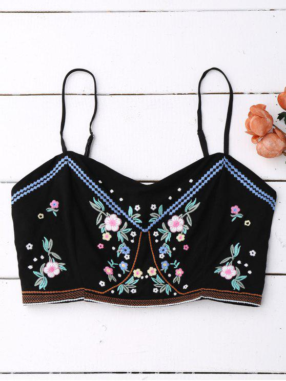 785d4d2d70536c 32% OFF  2019 Floral Embroidered Smocked Cropped Tank Top In BLACK ...
