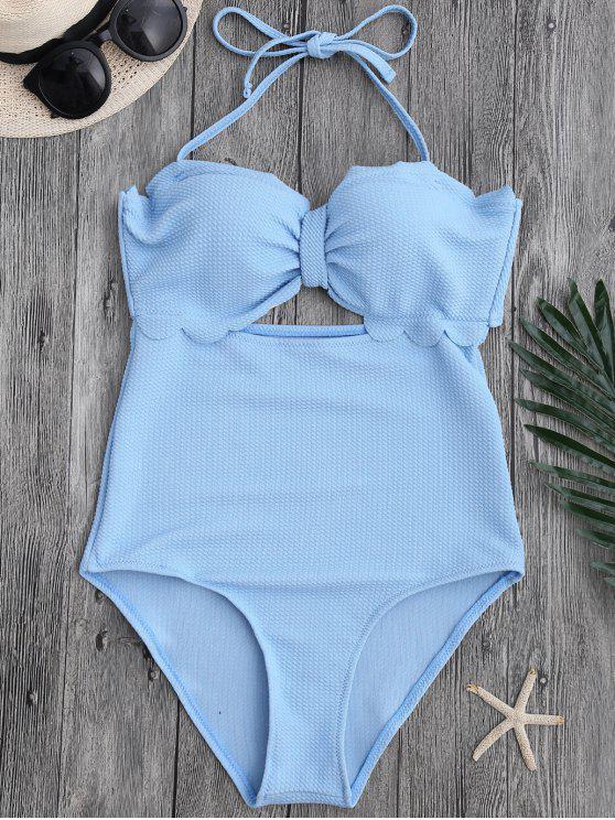 sale Cut Out High Leg Scalloped Swimwear - LIGHT BLUE L