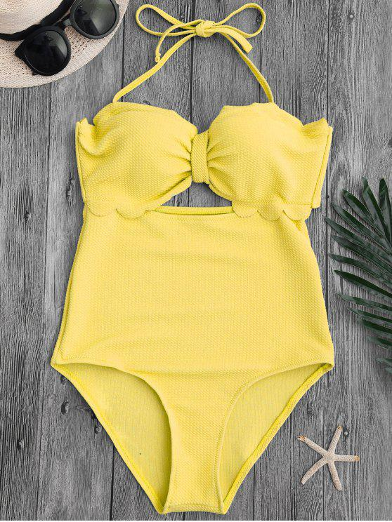 women's Cut Out High Leg Scalloped Swimwear - YELLOW L