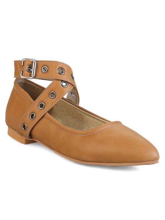 lady Eyelets Faux Leather Flat Shoes - BROWN 38