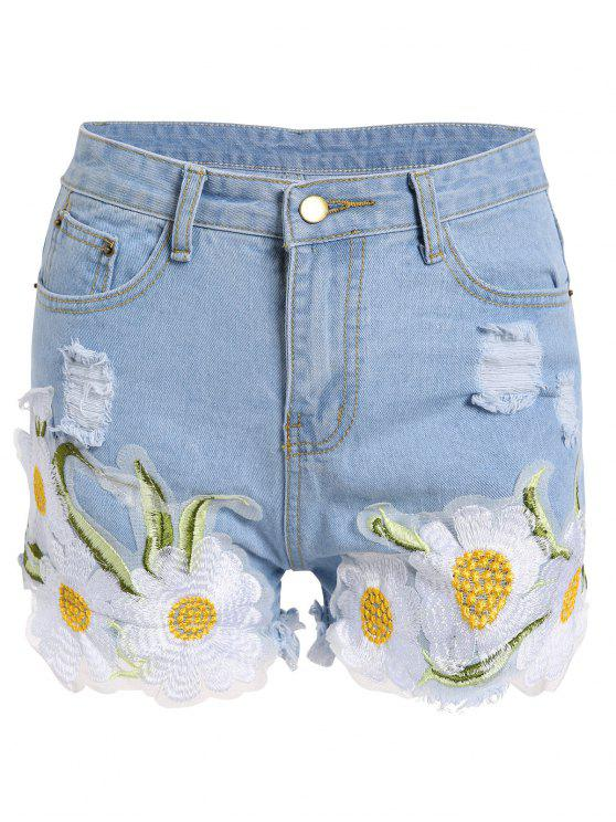 outfits Frayed Embroidered Floral Denim Shorts - LIGHT BLUE XL